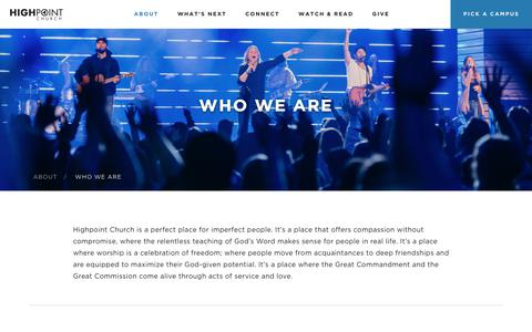 Screenshot of About Page highpointmemphis.com - Who We Are | Highpoint Church in Memphis, TN - captured Sept. 28, 2018