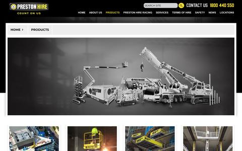 Screenshot of Products Page prestonhire.com.au - Access Equipment Hire In Australia | Preston Hire - captured Dec. 2, 2018