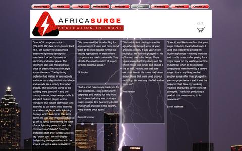 Screenshot of Testimonials Page africasurge.co.za - Testimonials - Africa Surge Protection - captured Feb. 5, 2016