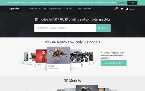 Screenshot of Home Page cgtrader.com - 3D Models for VR / AR and CG projects | CGTrader.com - captured May 1, 2017