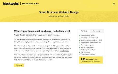 Screenshot of Pricing Page blackwebs.co.uk - Small Business Website Design - Small Business Website Design | Black Webs - captured Oct. 6, 2018