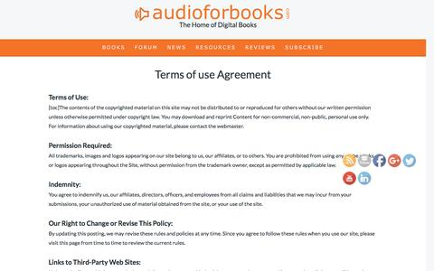 Screenshot of Terms Page audioforbooks.com - AudioforBooks.com Terms of use Agreement - captured Nov. 21, 2016