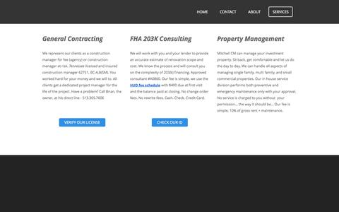 Screenshot of Services Page mitchellcm.com - Services - Mitchell Construction Management - captured Oct. 7, 2014