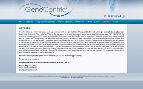 Screenshot of Jobs Page genecentric.com - Careers | GeneCentric - captured July 19, 2014