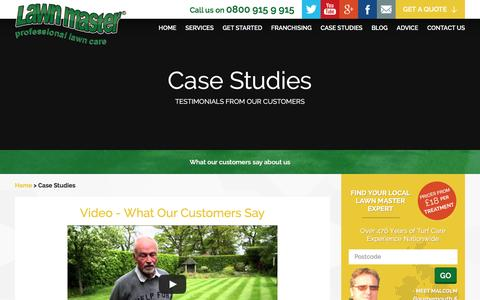 Screenshot of Case Studies Page lawnmaster.co.uk - Lawn Master Reviews, Customer Testimonials and Case Studies - captured Dec. 8, 2015