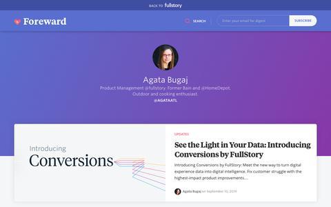 Screenshot of Blog fullstory.com - Agata Bugaj - FullStory Blog | Replay Sessions, CX Analytics, Funnels & Heatmaps - captured Feb. 5, 2020