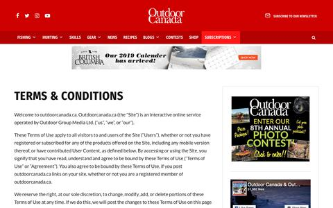 Screenshot of Terms Page outdoorcanada.ca - Terms & Conditions • Outdoor Canada - captured Dec. 21, 2018