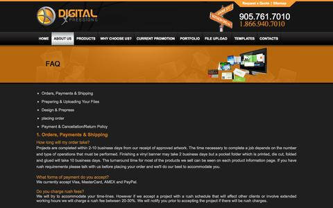 Screenshot of FAQ Page digitalxpressions.ca - Banner Design Graphic Design Companies Printing Services Vaughan - captured Sept. 30, 2014