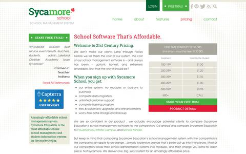 Screenshot of Pricing Page sycamoreschool.com - School Software That's Affordable. | Sycamore School - captured Nov. 3, 2018