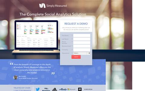 Screenshot of Landing Page simplymeasured.com - Simply Measured - captured Feb. 1, 2017