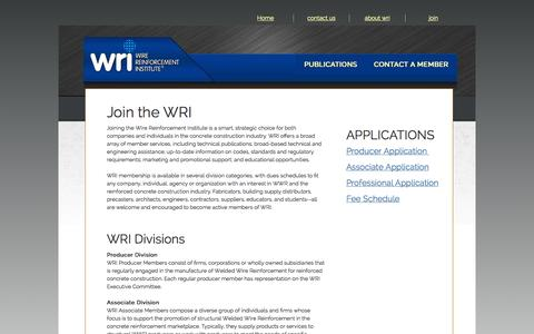 Screenshot of Signup Page wirereinforcementinstitute.org - Join - captured Oct. 26, 2014