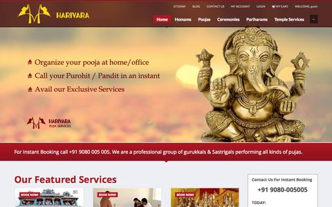 Screenshot of Home Page harivara.com - Harivara - Pooja Services, Puja Services,  Online Pooja Services,  Online Puja Services, priest services, Thirukadaiyur poojas, Rameshwaram poojas - captured Oct. 2, 2014