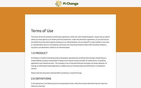 Screenshot of Terms Page changa.co.ke - M-Changa - captured Sept. 1, 2016