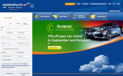 Screenshot of Home Page aeroflot.ru captured Sept. 18, 2014