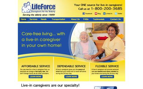 Screenshot of Home Page lifeforceeldercare.com - Live-in Non-Medical Custodial Care| Life Force Live-in Care - captured Oct. 2, 2014