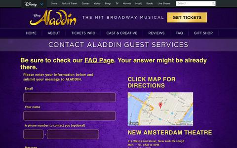 Screenshot of Contact Page aladdinthemusical.com - Contact Guest Services | ALADDIN on Broadway Official Site - captured Feb. 18, 2016