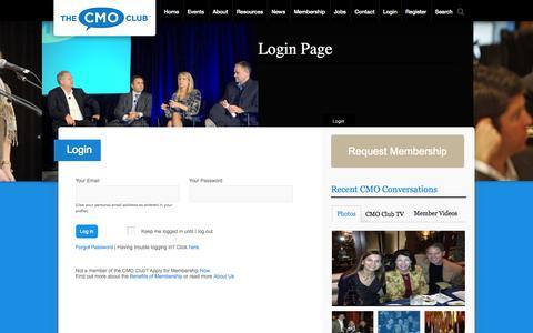 Screenshot of Menu Page thecmoclub.com - The CMO Club - captured Oct. 9, 2014