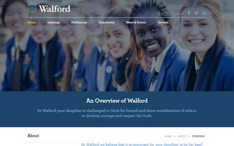 Screenshot of About Page walford.net.au - Overview | About | Walford Anglican School for Girls - captured Oct. 27, 2014