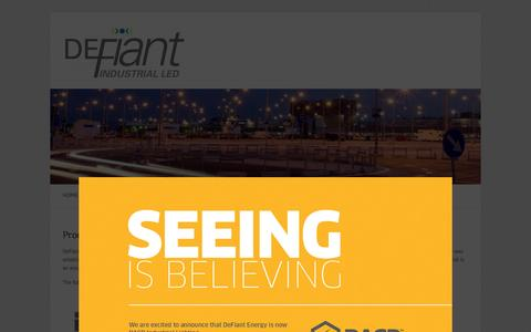 Screenshot of Products Page defiantenergy.ca - Products   DeFiant Industrial LED - captured Oct. 5, 2014