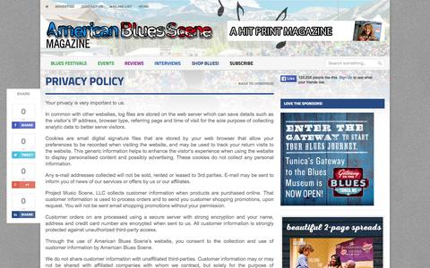 Screenshot of Privacy Page americanbluesscene.com - Privacy Policy | The very BEST in blues music news, interviews, album reviews! - captured Oct. 1, 2015