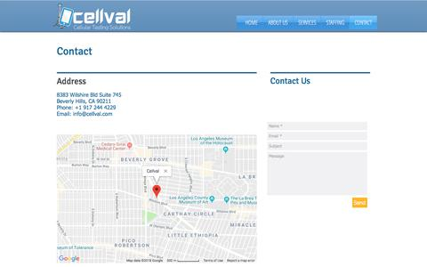 Screenshot of Contact Page cellval.com - Cellval | Contact - captured July 16, 2018