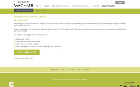 Screenshot of Login Page careersinmaghreb.com - Login Register - captured Jan. 1, 2017