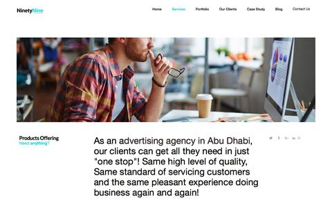 Screenshot of Services Page 9tnine.net - Top branding design and advertising company in Abu Dhabi - captured Aug. 8, 2018