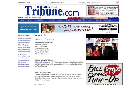Screenshot of About Page albertleatribune.com - About Us | Albert Lea Tribune - captured Sept. 23, 2014