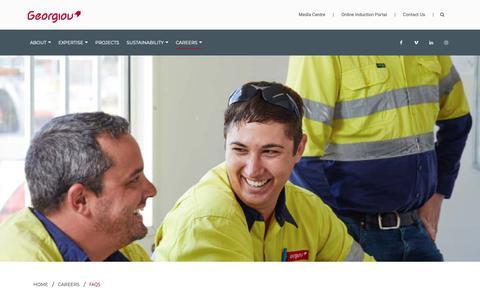 Screenshot of FAQ Page georgiou.com.au - Careers - Faqs | Georgiou Group - captured Nov. 4, 2018