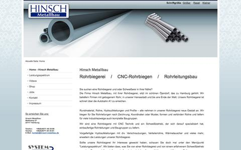 Screenshot of Home Page hinsch-metallbau.de - Home - Hinsch Metallbau - captured June 9, 2016