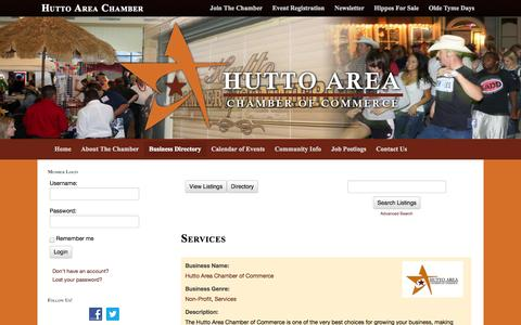 Screenshot of Services Page huttochamber.com - Services  Hutto Area Chamber | Business Directory - captured Oct. 3, 2014