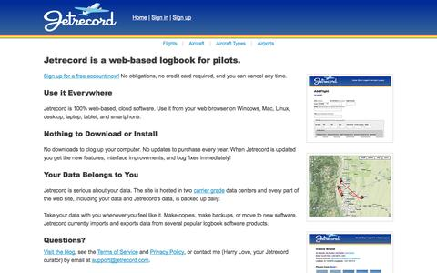 Screenshot of Home Page jetrecord.com - The Online Logbook for Pilots : Jetrecord - captured Sept. 30, 2014