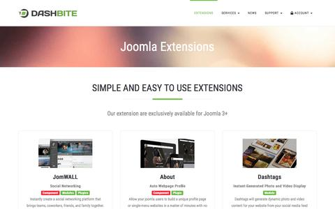 Screenshot of Products Page dashbite.com - Joomla Extensions - Dashbite - captured July 6, 2018