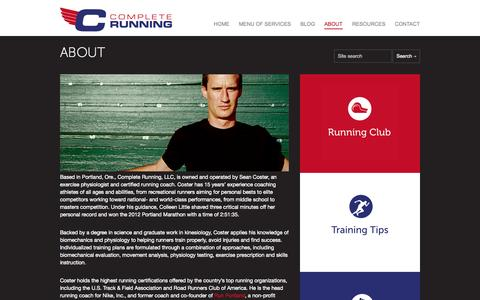 Screenshot of About Page crpusa.com - ABOUT | CRPUSA - Complete Running - captured Oct. 2, 2014