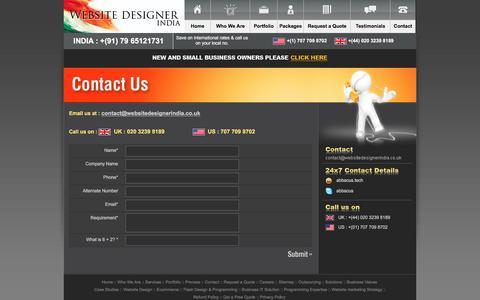 Screenshot of Contact Page websitedesignerindia.co.uk - Contact Us |  Web Design Company India, Website Designer India, Custom Website Developers India, - Website Designer India and UK - captured Jan. 18, 2018