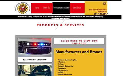 Screenshot of Products Page Services Page commercialsafetyservices.com - safety | PRODUCTS & SERVICES - captured Nov. 9, 2016