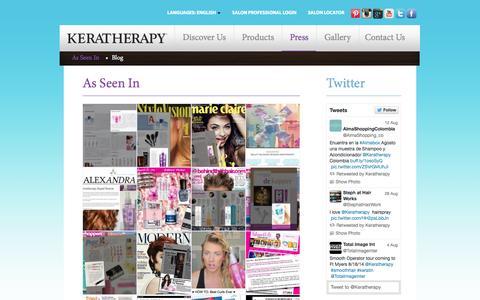 Screenshot of Press Page keratherapy.com captured Sept. 30, 2014