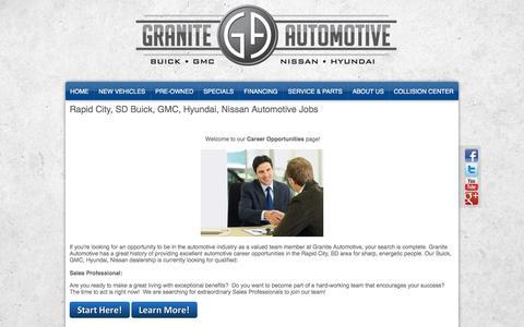Screenshot of Jobs Page drivegranite.com - Buick, GMC, Hyundai, Nissan Rapid City, SD | Automotive Dealership Careers & Jobs at Granite Automotive - captured Jan. 31, 2016