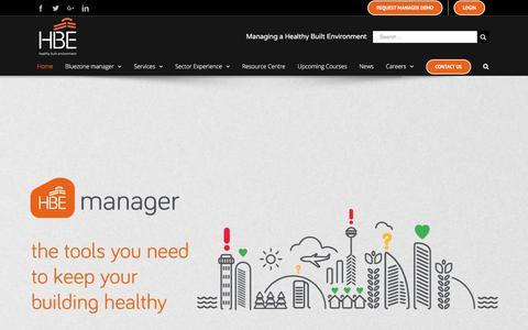Screenshot of Home Page hberm.com - HBE UK & Ireland - Leaders in Legionella, Asbestos, Fire, Health & Safety - captured Sept. 25, 2018