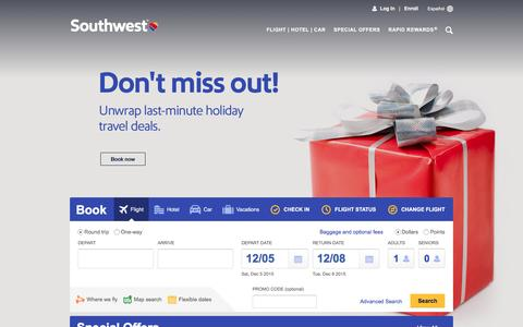 Screenshot of Home Page southwest.com - Southwest Airlines | Book Flights, Airline Tickets, Airfare - captured Dec. 4, 2015