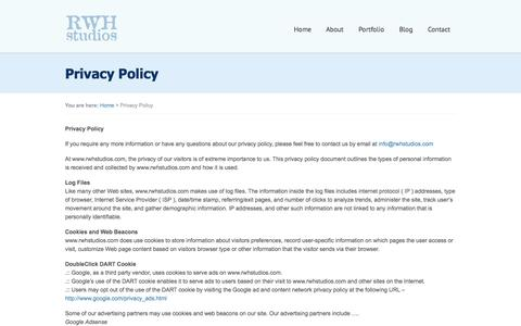 Screenshot of Privacy Page rwhstudios.com - Privacy Policy | RWH Studios - captured Sept. 30, 2014