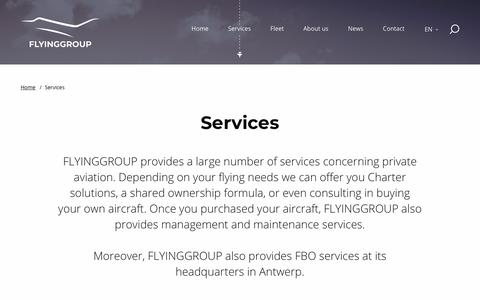 Screenshot of Services Page flyinggroup.aero - Services | Flying Group - captured Nov. 6, 2018