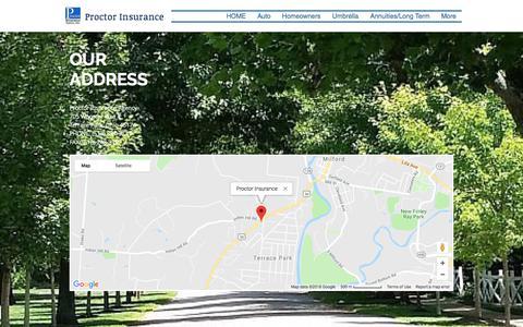 Screenshot of Maps & Directions Page proctorinsurance.com - proctorinsurance | MAP - captured July 23, 2018
