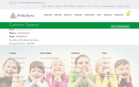 Screenshot of Support Page ankidyne.com - Customer Support | Ankidyne - captured July 23, 2016