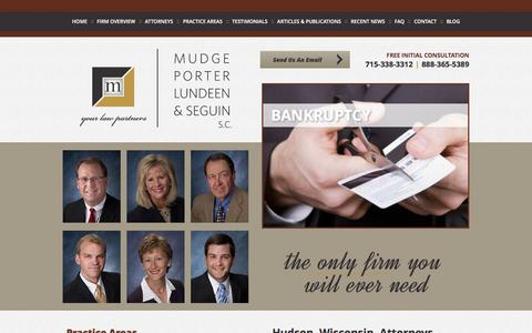 Screenshot of Home Page mpl-s.com - Hudson Wisconsin Lawyers   River Falls Bankruptcy & Family Law Attorney   New Richmond WI Personal Injury Lawyer - captured Feb. 26, 2016