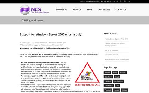 Screenshot of Support Page ncs-support.co.uk - Support for Windows Server 2003 ends in July! • NCS Support Services Ltd,NCS Support Services Ltd, - captured Dec. 19, 2016