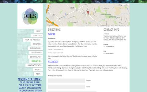 Screenshot of Maps & Directions Page iclscharter.org - Directions | The International Council for the Life Sciences The International Council for the Life Sciences - captured Oct. 6, 2014