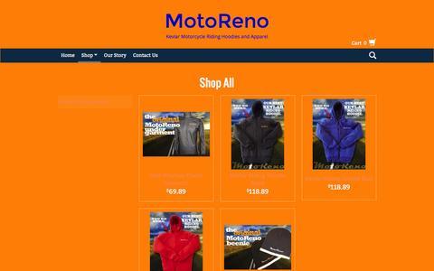 Screenshot of Products Page motoreno.com - Products   MotoReno - captured Jan. 11, 2016