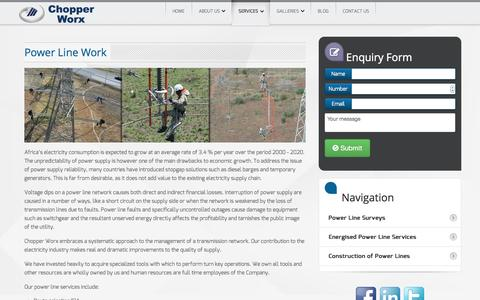 Screenshot of Services Page chopperworx.co.za - Power Line Work - Chopperworx - captured Oct. 2, 2014