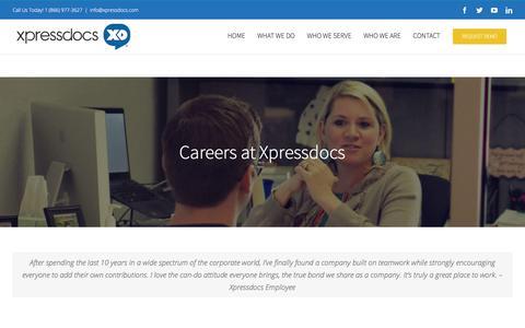 Screenshot of Jobs Page xpressdocs.com - Jobs - Xpressdocs Marketing Platform & Solutions - captured Jan. 15, 2018